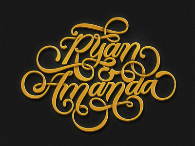 R + A logo branding typography lettering calligraphy script gold
