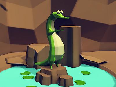 A for Alligator low poly animation unity app kids children book illustration 3d