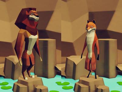 Lion And Fox low poly animation unity app kids children book illustration alphabet