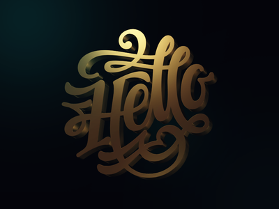 Hello Dribble calligraphy typography lettering monogram clothing 3d