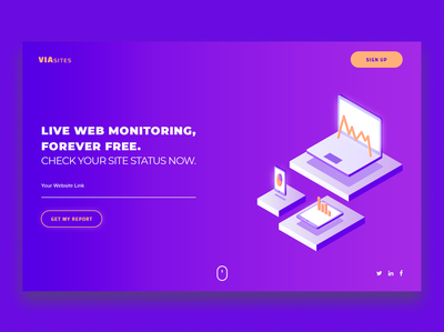 Web Monitoring Service Landing page design landing page blue illuatration hosting company site status monitoring web hosting landing