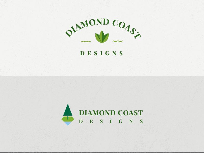 Diamond Coast Designs Logo nature green tree outdoor landscape diamond design logo
