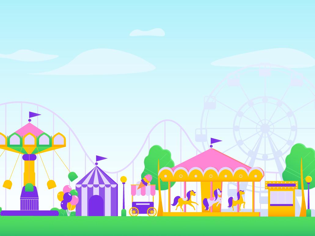 Amusement Park Illustration baloons children carousel illustration fun park amusement park