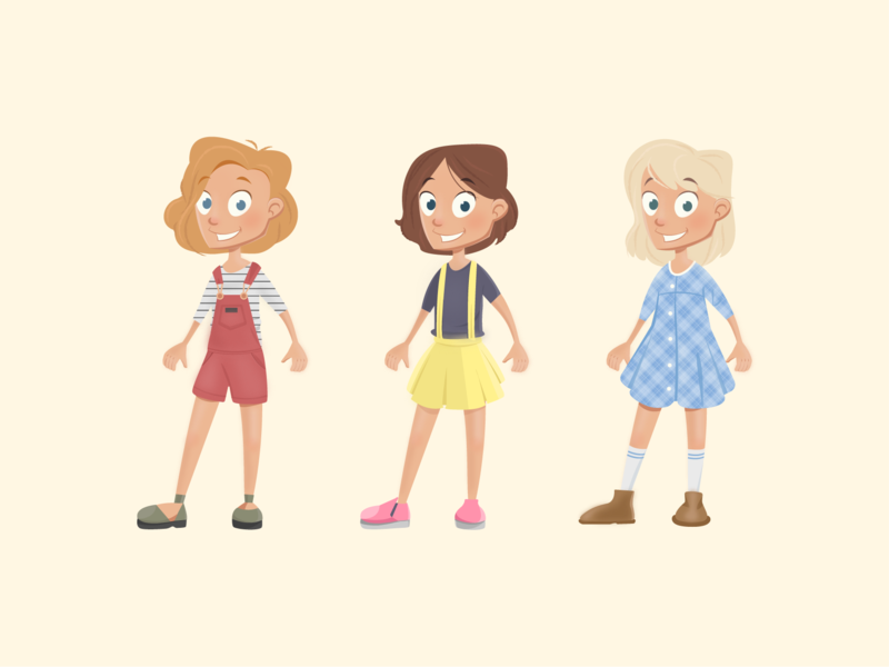 Character design concept - girls cute hair blond concept dress girls girl kid kids vector illustration children character design characterdesign character