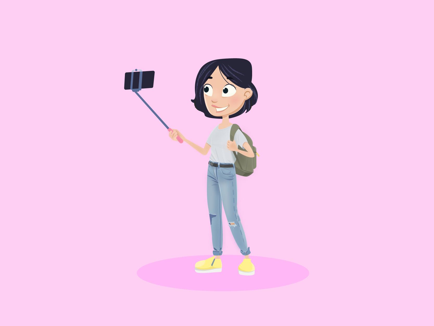 Selfie girl dribbble