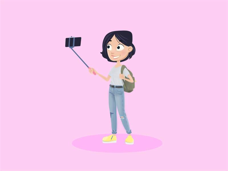 Character - Selfie Girl cute child kid cartoon selfie vector girl concept character design children illustration character