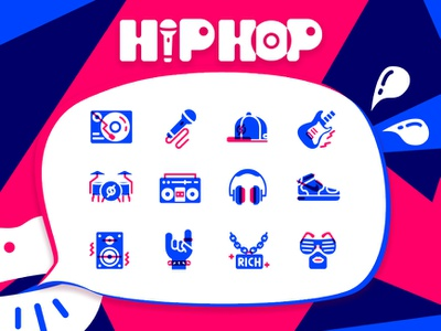 HIP HOP icons icons hip hop line flat illustration icon