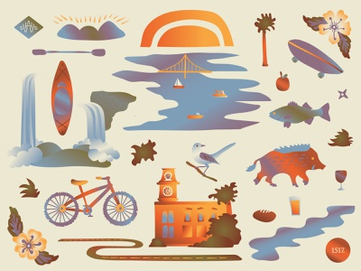 HWSS NWA ozarks ar arkanasas razorback bike sun illustrator illustrated outdoors conference nwa northwest arkansas branding vector shapes illustration minimal