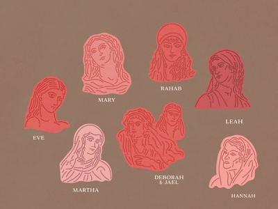 Women of the Bible line art hand made hand drawn illustrated bible christian ipad vector minimal illustration woman women