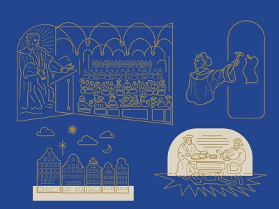 How Melanchthon Helped Luther illustration reformation luther christian how melanchthon helped luther linework lines vector design line art minimal branding book book deisgn book cover