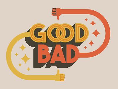 Good / Bad album art sparkles thumbs down thumbs up bad good