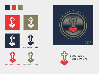 you are forgiven v2 forgiven theology radio 1517 christian logo album art illustration minimal branding podcast art podcast cross hear