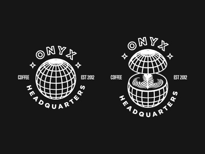 Onyx Hq Art hq line art logo sign coffee onyx globe