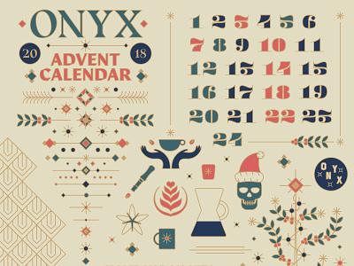 ONYX Advent / Holiday style direction line art illustration onyx coffee calendar coffee onyx holiday christmas advent