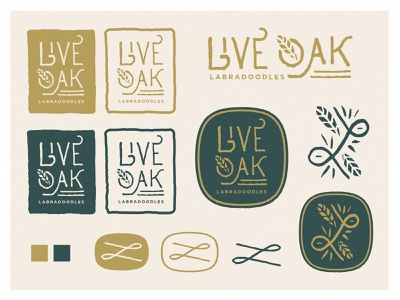 Live Oak Labradoodles identity leaf labradoodles live oak live logo texture minimal branding