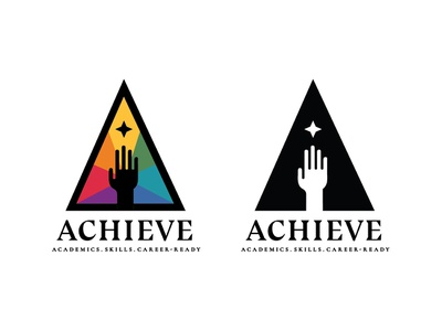 Rogers CTE program branding (WIP) tech career school school system branding identity colors rainbow reach achieve star hand triangle shapes minimal logo