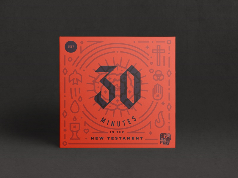 30 Minutes in the New Testament - Podcast Art podcast line art icon icons symbols minutes 30 mins 30 1517 history lutheran theology church design vector branding album art christian illustration minimal