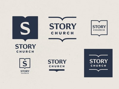 STORY church branding R3 book s story church identity logo vector design branding christian illustration minimal