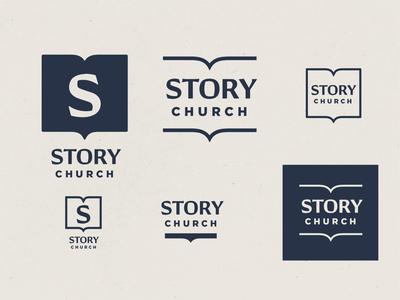 STORY church branding R3 book s story church identity logo vector design branding christian illustration minimal