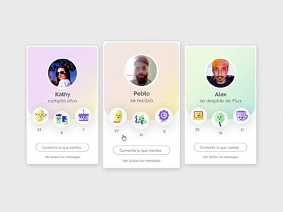 Runrun - Social Cards illustration social reaction ui design motion ui motion animation