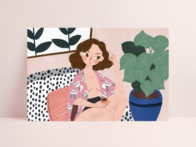 Day1.drink coffee in a leisurely lifestyle coffee girl life style illustrations