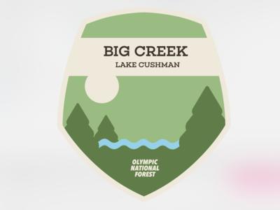 Destination Art - Big Creek, Olympic National Forest tourism destination shield logo shield logo