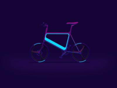 Cycle redblue neomorphism bike cycle sci-fi future neon dark art gradient design vector illustration