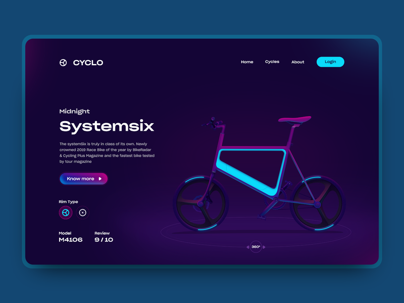 Cyclo landing page shopping app cart shopping neon webpage webdesign web uidesign colorful cycle game ui gradient vector illustration
