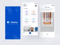 Clarity App card design counterfeit management app product design barcode scan ui appui uiux uidesign minimal ios app