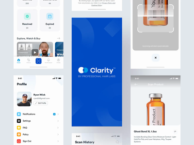 Clarity App location minimalistic map side menu profile counterfeit minimal uidesign uiux ui scanning scan product design card design management app ios app