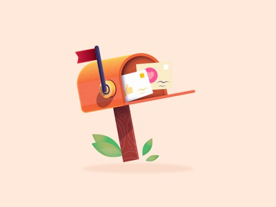 MailBox newsletter message mailing web branding minimalist letters mailbox email mail character minimal cartoon gradient design vector illustration