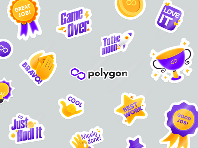 Polygon Sticker for Telegram matic polygon crypto telegram sticker branding character design vector illustration