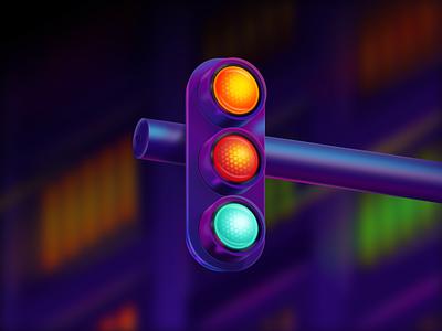 Signal Light 🚦 - Figma Illustration neon light signallight figmaillustration madeinfigma figma 3d design vector illustration