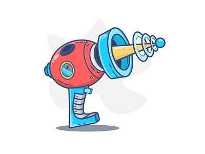 Gun weapon vector ufo space pistol illustration icon gun cyberpunk cyber blaster asset