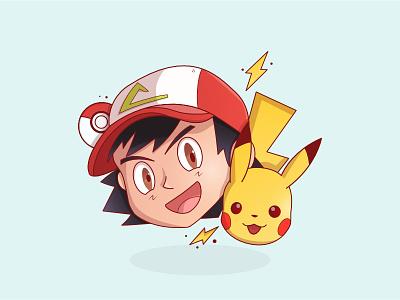 Ash Pikachu affinitydesigner pokemongo pokemon pikachu outline lightning illustration icon cap ball ash