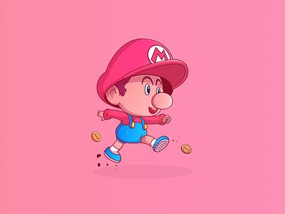 Baby Mario toadette super star print nintendo mario baby illustration coin character cartoon art