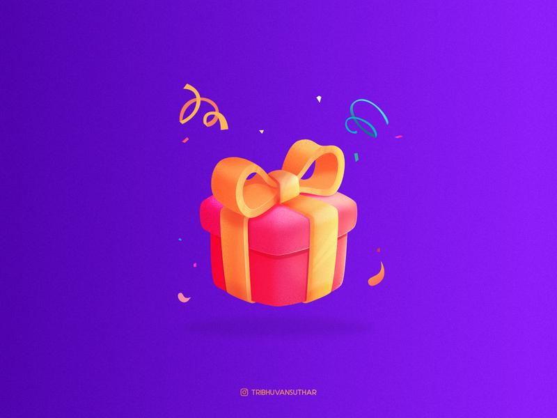 Gift brush grainy flatdesign gift icon dribbble gradient character design vector illustration