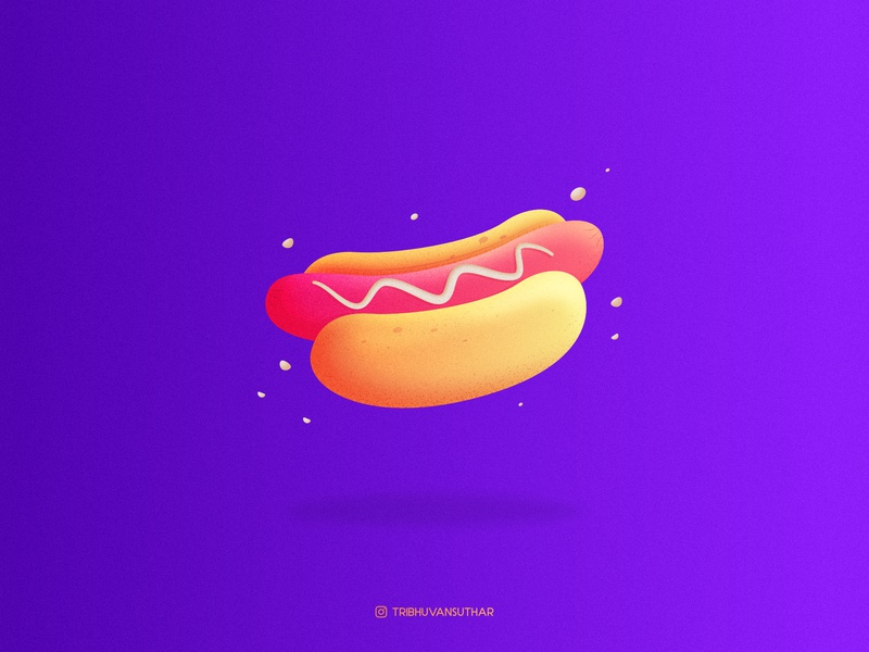Hotdog hungry food gradient design dribbble icon flatdesign hotdog vector illustration