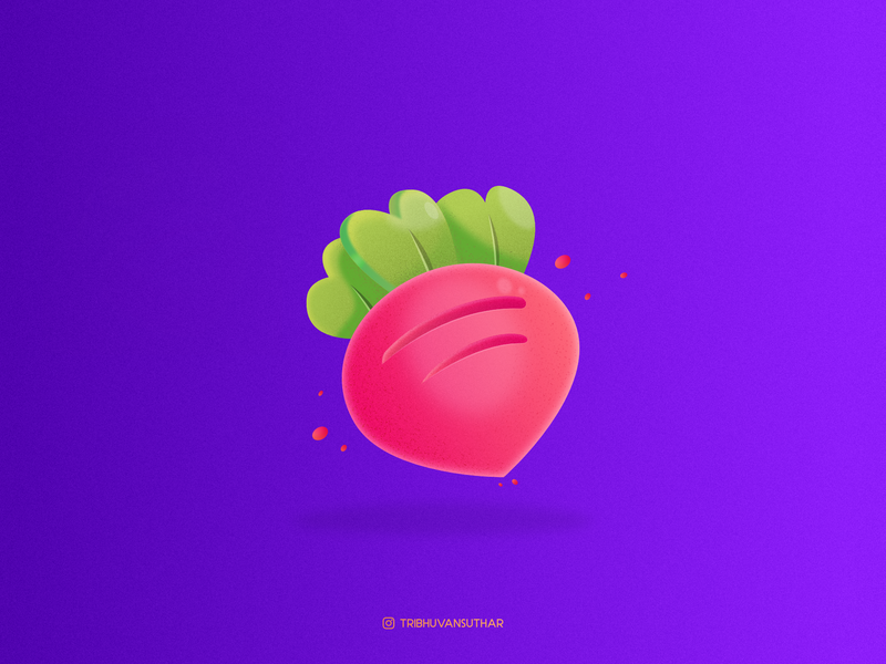 Radish affinitydesigner brush grainy cute baby fruit radish gradient dribbble cartoon icon design vector illustration