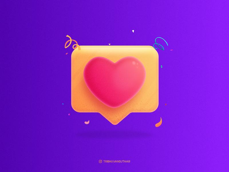 Like - Heart ❤️ instagram likeforlike affinitydesigner brush grainy like button heart beat like heart gradient dribbble art icon design vector illustration