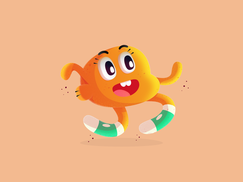 Darwin cute cartoonnetwork brush grainy affinitydesigner dribbble cartoon character vector illustration
