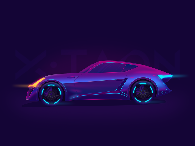 X-Taon Car xtaon car neon colors neon affinitydesigner gradient dribbble design vector illustration