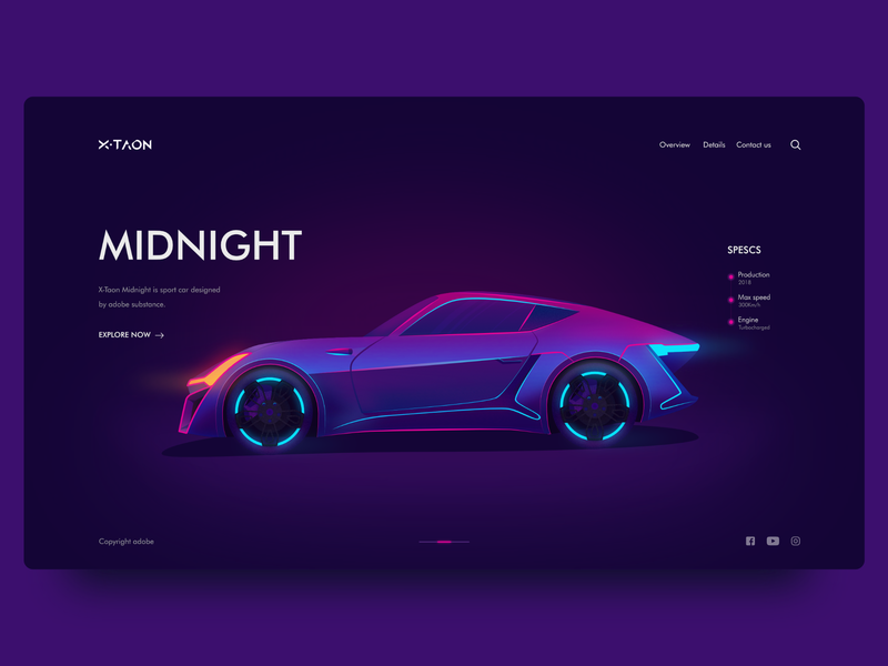 X-Taon Car Landing Page illustraion webui landingpage uiux darkui neon colors carui car dark affinitydesigner ui gradient dribbble design illustration