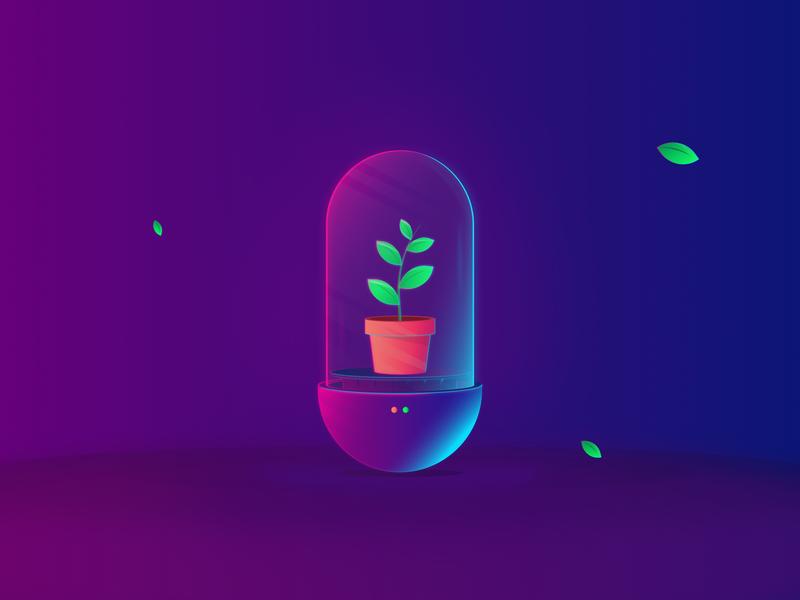 Save Plant For Future science tube light neon leaf future plant art gradient dribbble vector illustration