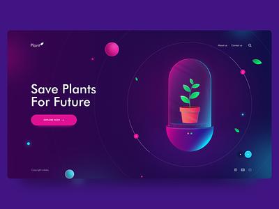 Save Plants For Future science tube future plant web app webdesign web landingpage dribbble design illustration