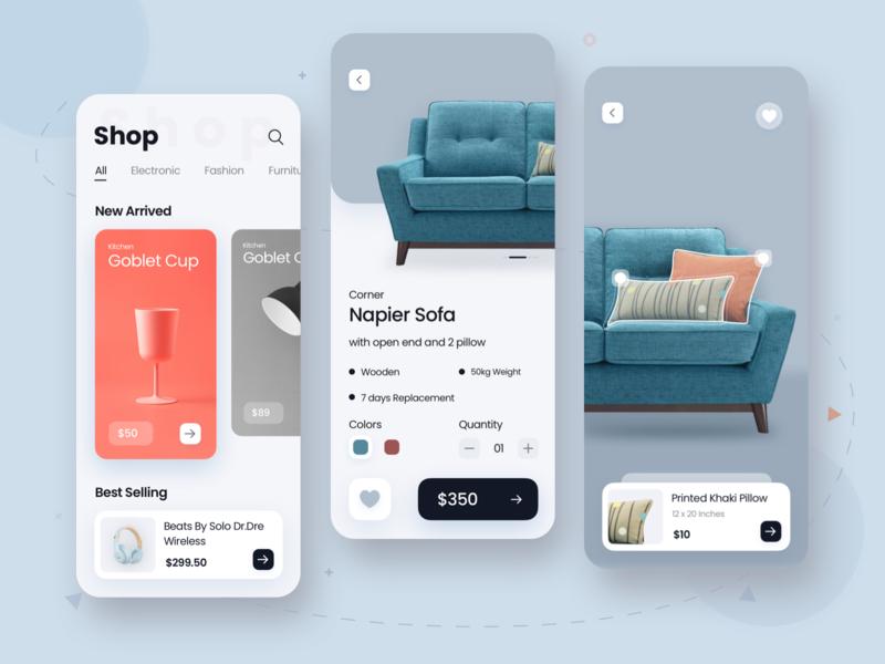 Shop App uidesigns app design furniture shopping cart shopping app ecom minimal shop uidesign uiux ios app ui