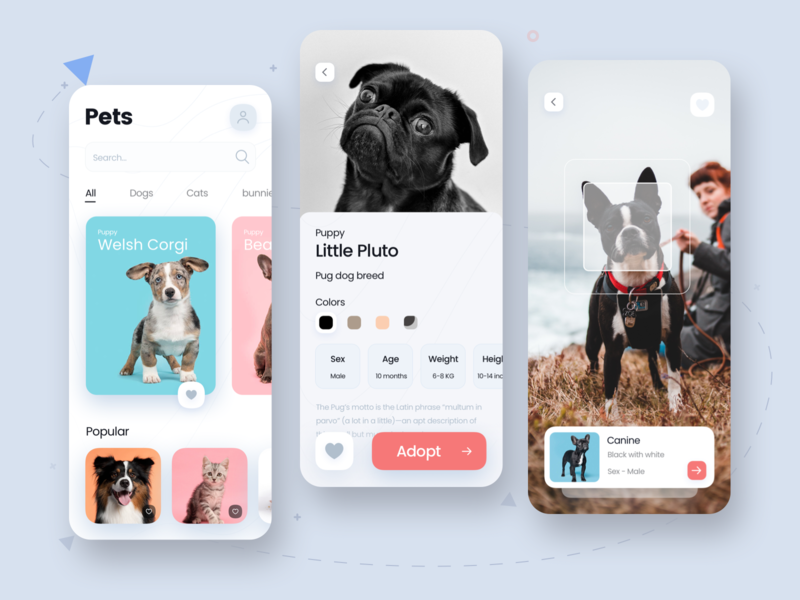 Pets App ecommerce ios adopt ux ui shopping cart shopping minimal petshop pets uidesign uiux app design app