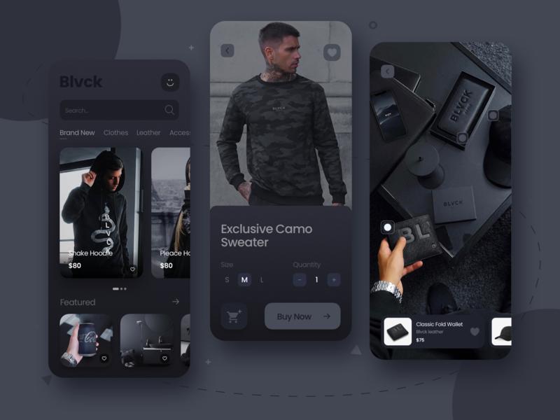Blvck App blvck black clothes minimal dark mode dark ui uidesigns shopping cart shop ecommerce app uidesign uiux app design app