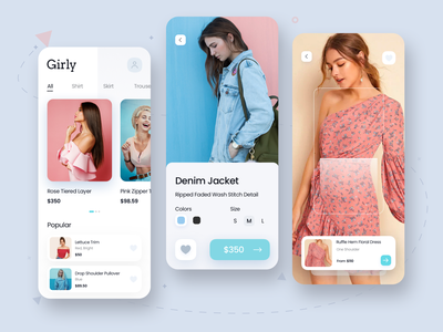 Girly App minimalistic minimal shopping bag fashion app fashion ecommerce clothes shop girly shopping app shopping cart uidesign uiux