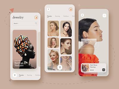 Jewelry App minimalist fashion app minimal ecommerce app ecommerce model uidesign shopping cart app beauty jewels jewellery jewelry uiuxdesign cart shopping app shopping uiux ui
